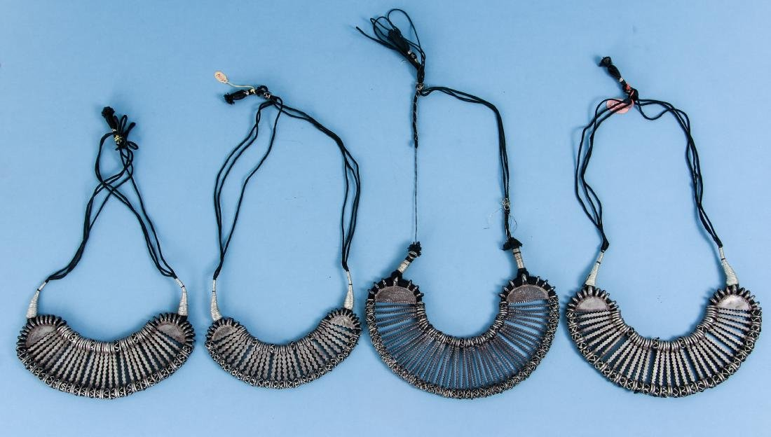 Four Antique Indian Silver Choker Necklace