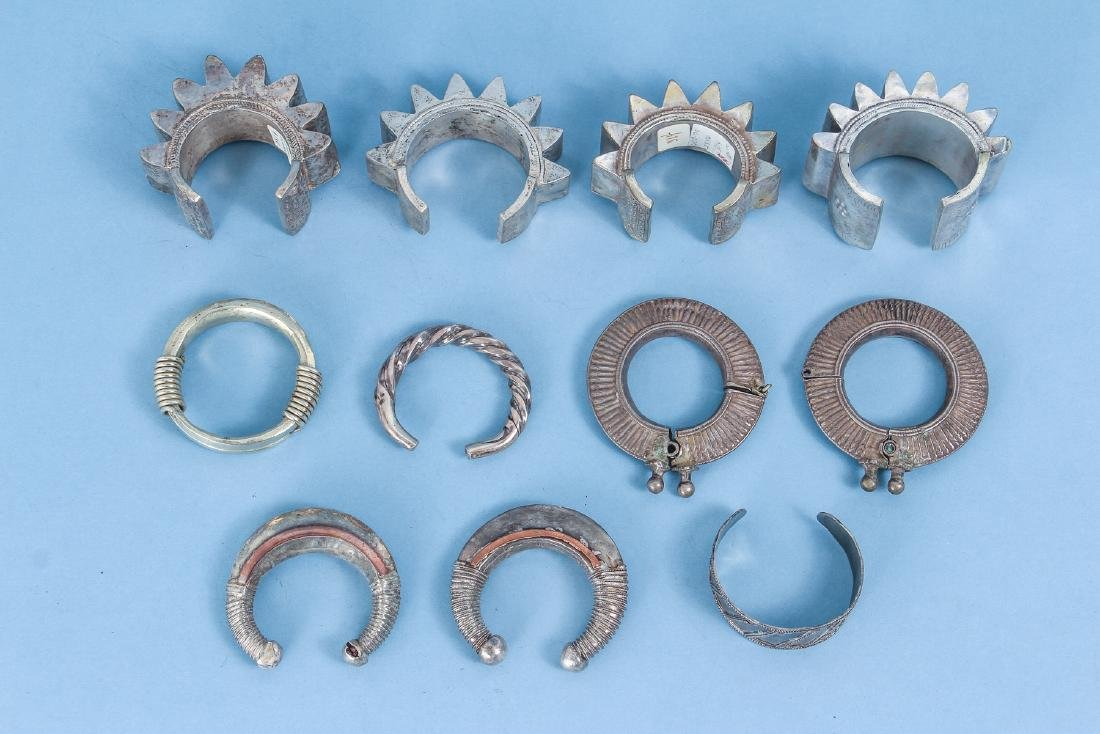 Ten Antique Indian and Chinese Silver Bracelets