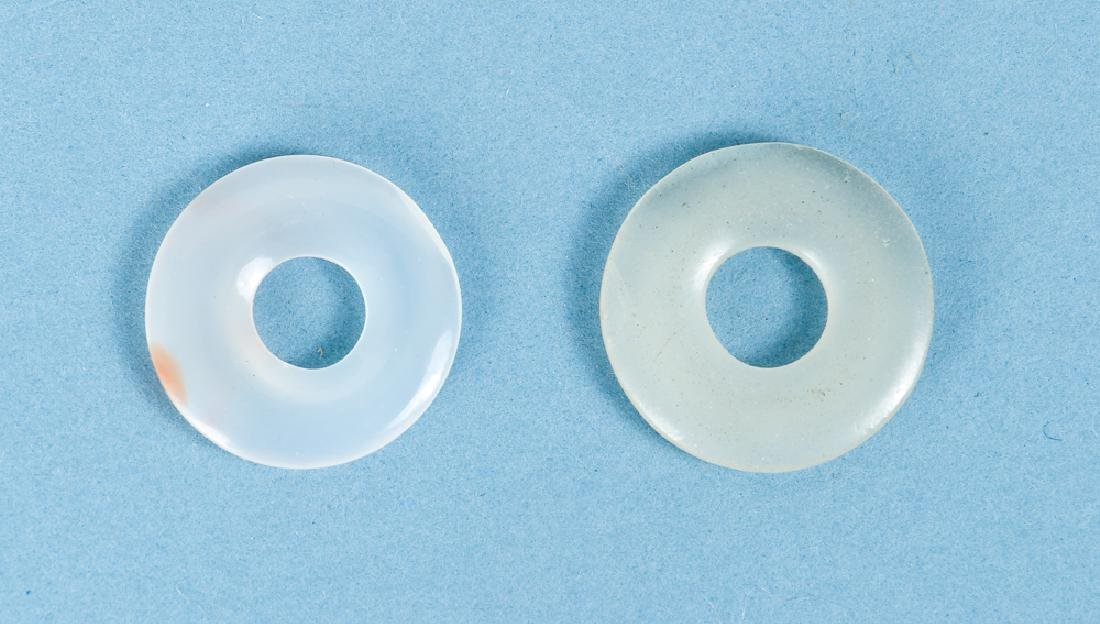 Group of Pale White Jade or Nephrite Bi Discs - 2
