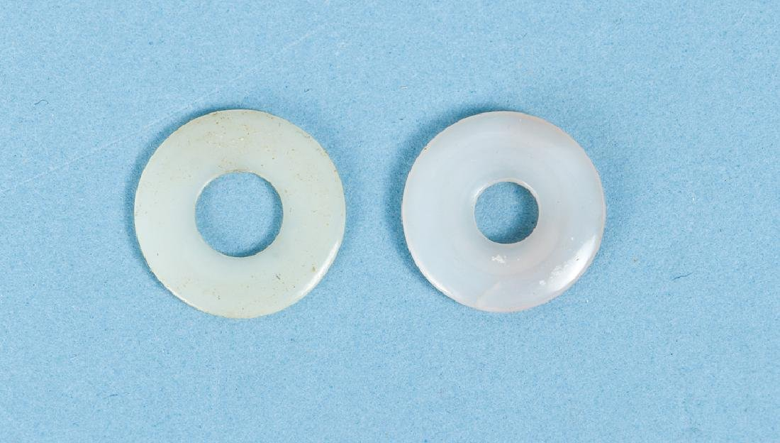 Group of Pale White Jade or Nephrite Bi Discs - 6