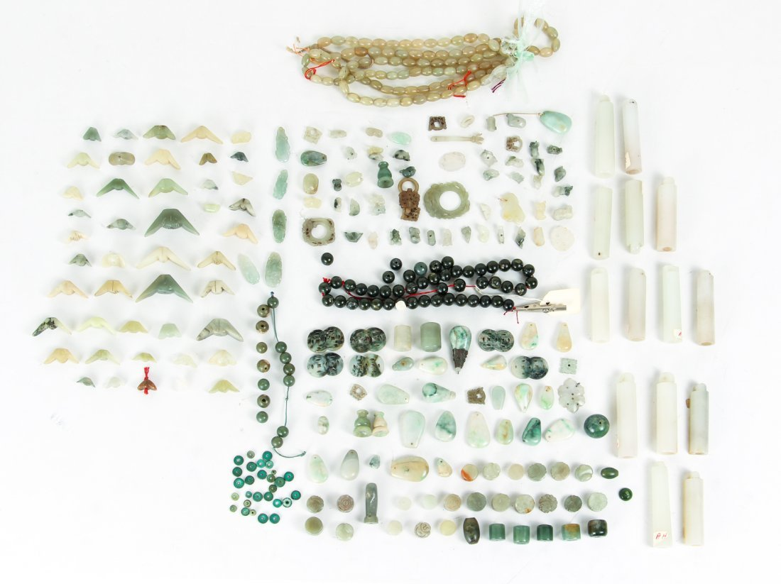Large Group of Jade or Nephrite Beads