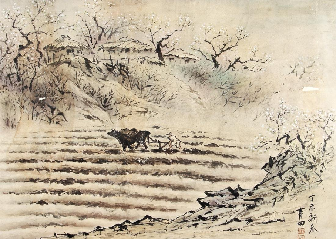 Chinese Watercolor of Man Plowing Field