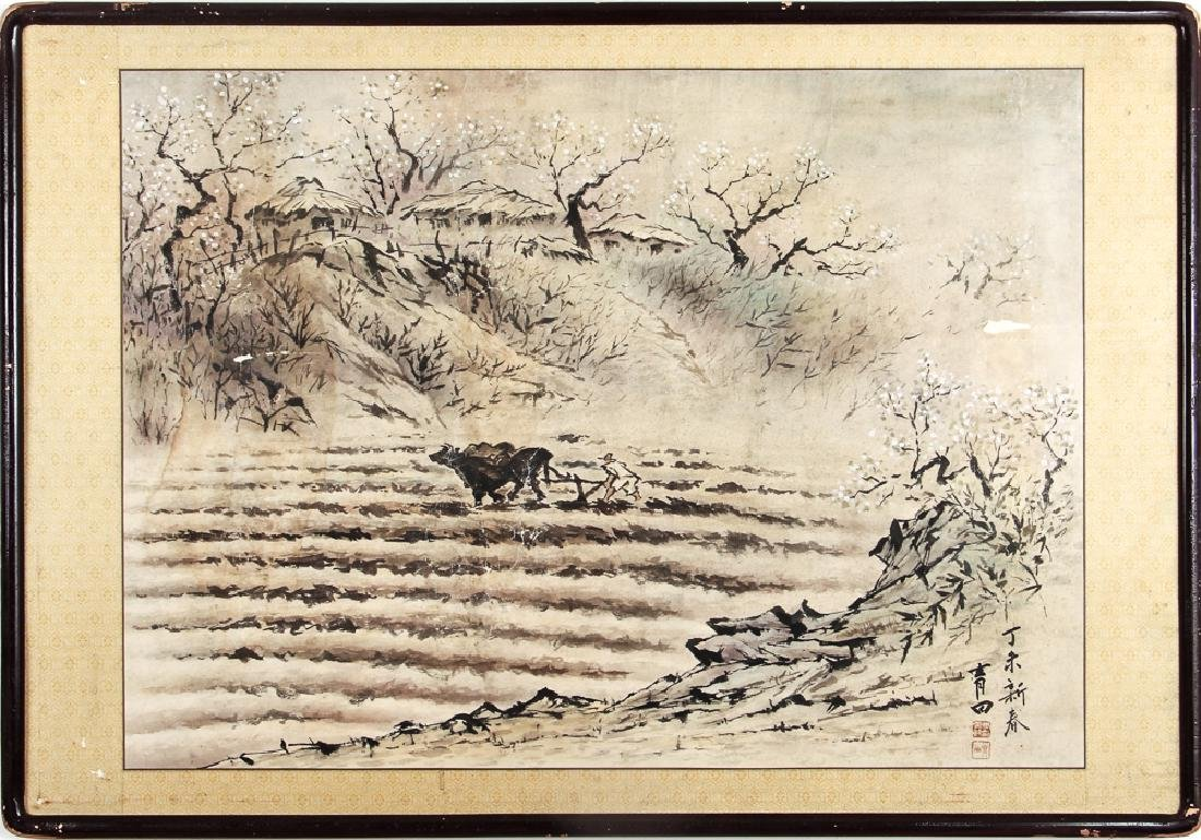 Chinese Watercolor of Man Plowing Field - 2