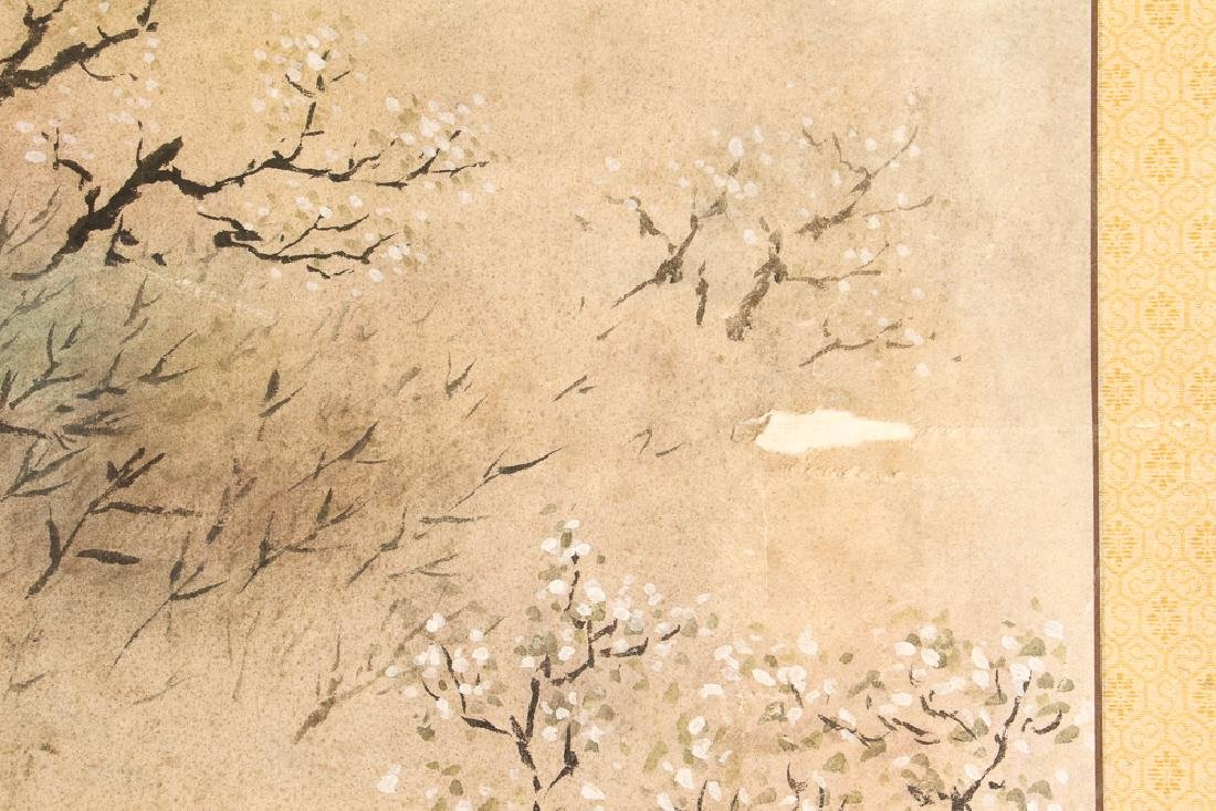 Chinese Watercolor of Man Plowing Field - 4