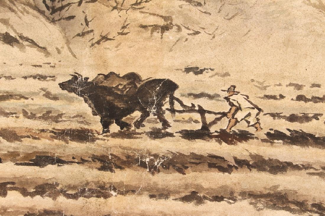 Chinese Watercolor of Man Plowing Field - 5