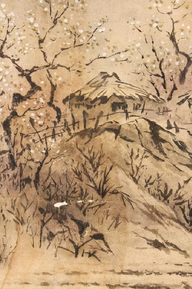 Chinese Watercolor of Man Plowing Field - 6