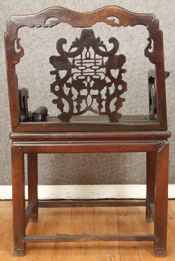 Pair of Antique Chinese Carved Wood Chairs - 10