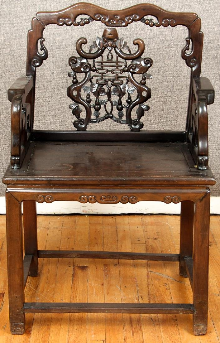 Pair of Antique Chinese Carved Wood Chairs - 2