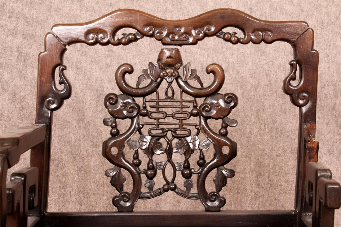 Pair of Antique Chinese Carved Wood Chairs - 8