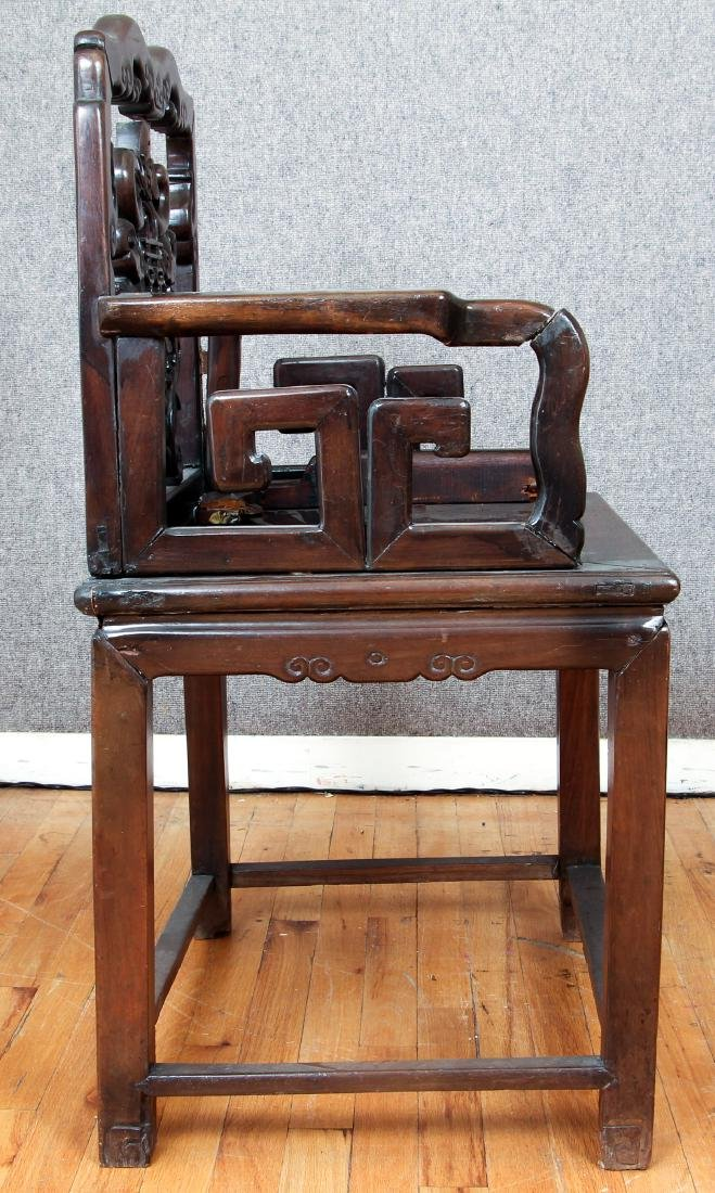 Pair of Antique Chinese Carved Wood Chairs - 9