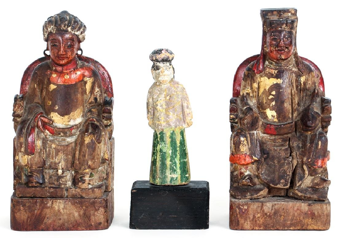 Three Antique Chinese Carved Wood Figures