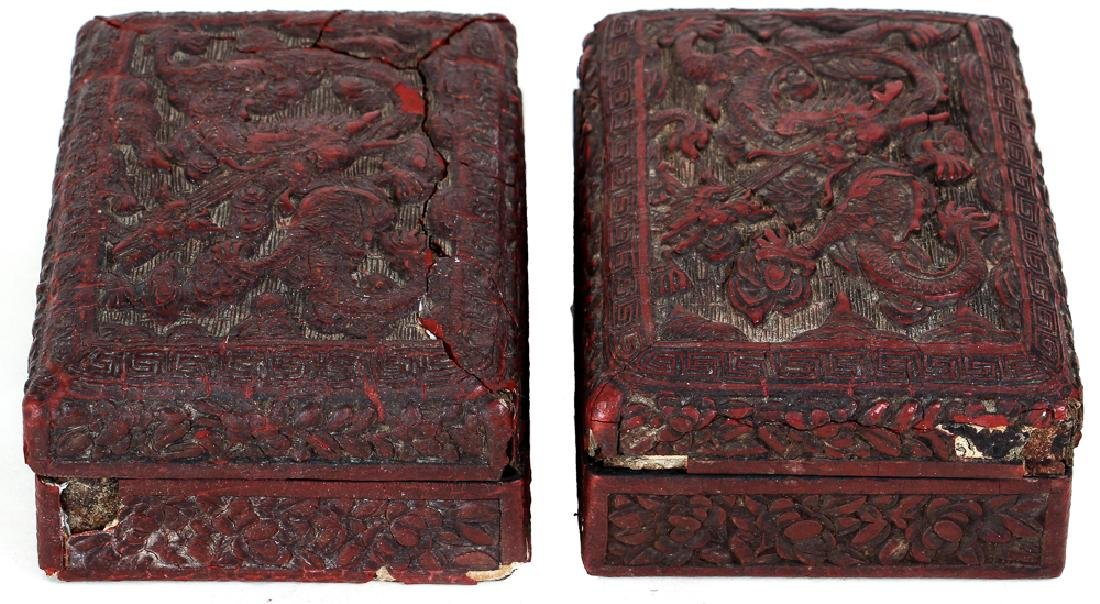 Two Antique Chinese Cinnabar Boxes