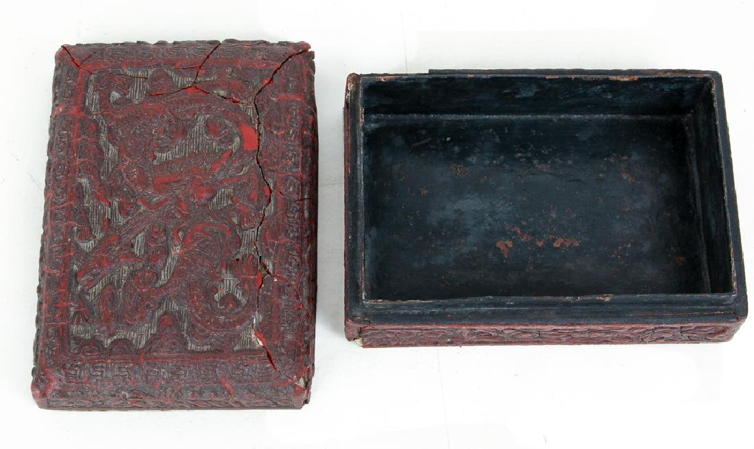Two Antique Chinese Cinnabar Boxes - 3