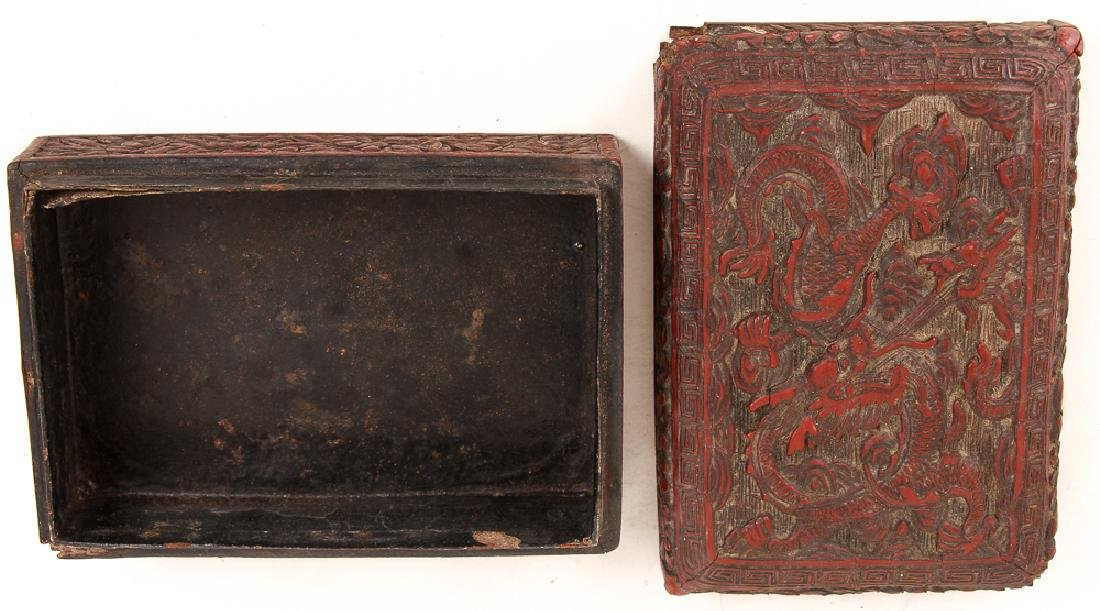 Two Antique Chinese Cinnabar Boxes - 6