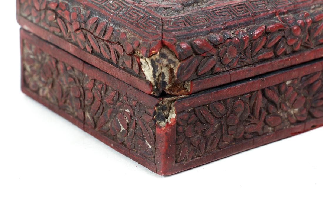Two Antique Chinese Cinnabar Boxes - 8