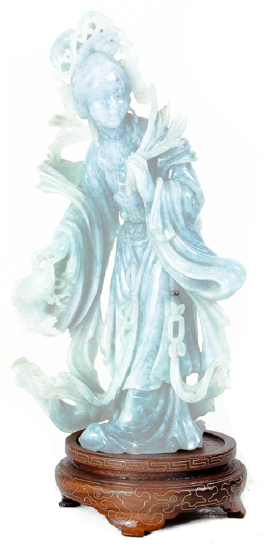 Vintage Fluorite Chinese Carving of Guan Yin
