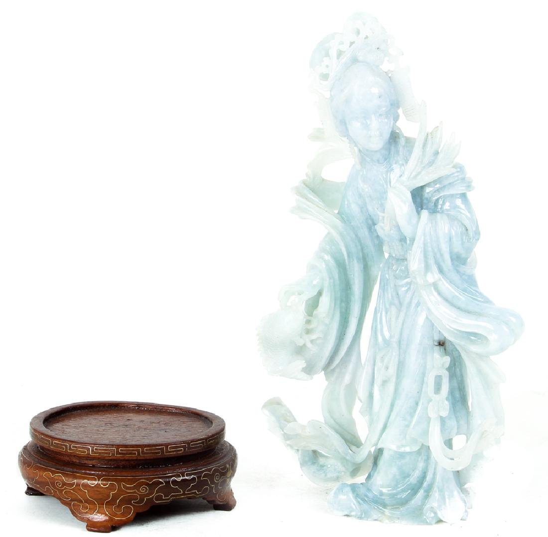 Vintage Fluorite Chinese Carving of Guan Yin - 2