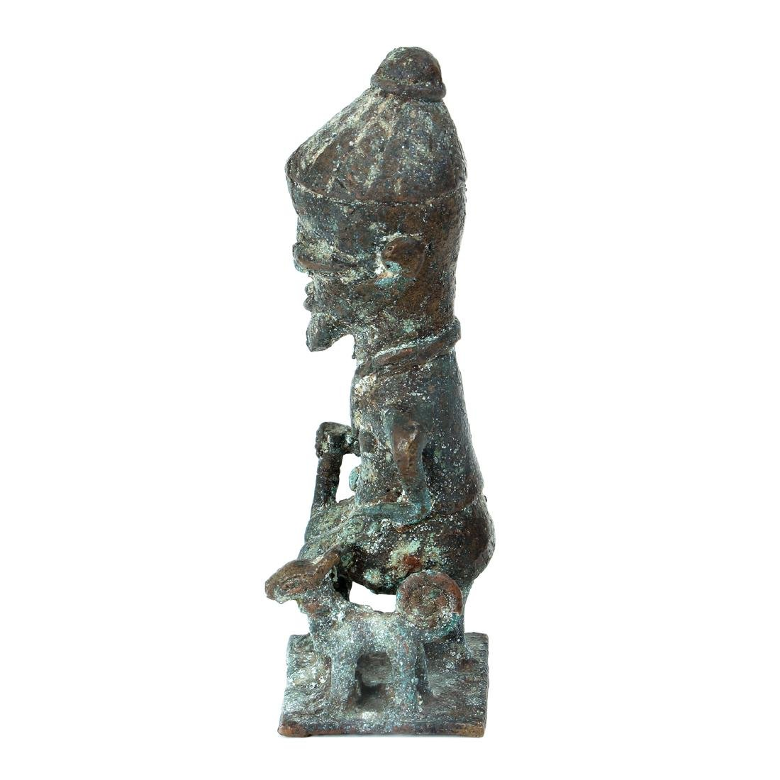 20th Century African Seated Male Figure Cast Bronze - 2