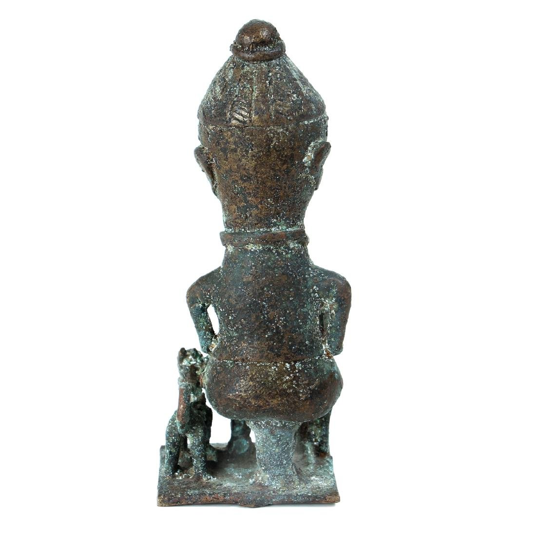 20th Century African Seated Male Figure Cast Bronze - 3
