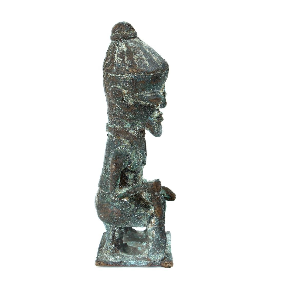 20th Century African Seated Male Figure Cast Bronze - 4