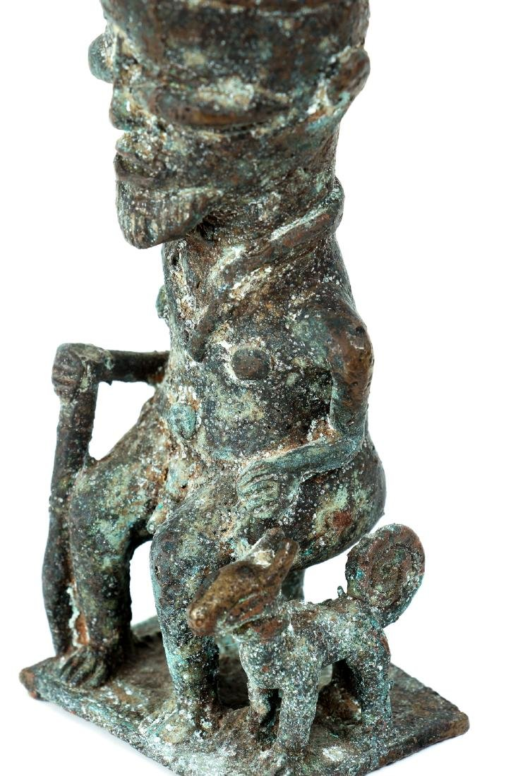 20th Century African Seated Male Figure Cast Bronze - 7