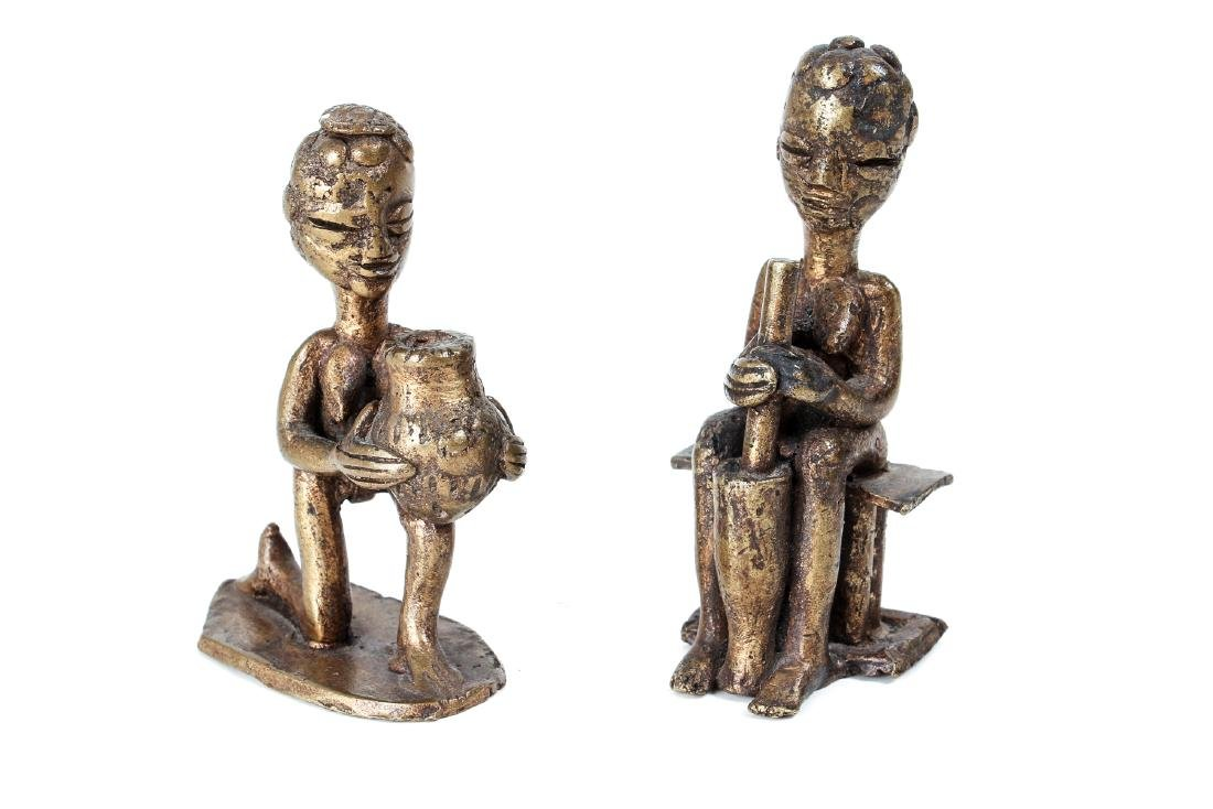two small cast bronze African Figures