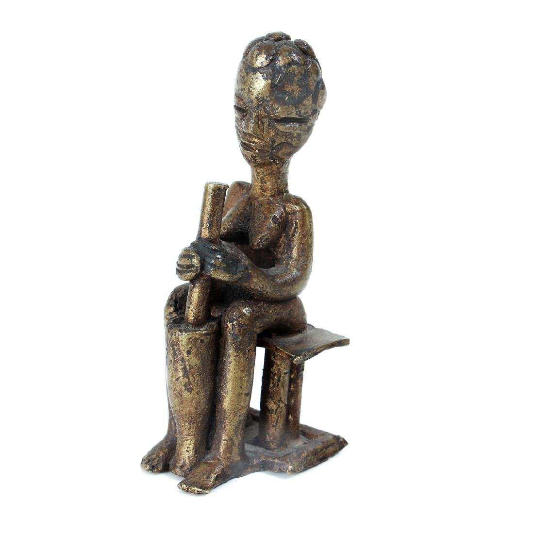 two small cast bronze African Figures - 5