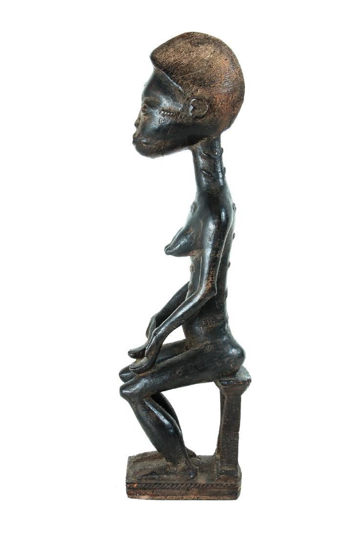 Baule Female Figure Seated on Stool - 2