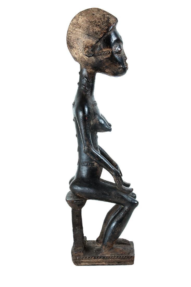Baule Female Figure Seated on Stool - 4