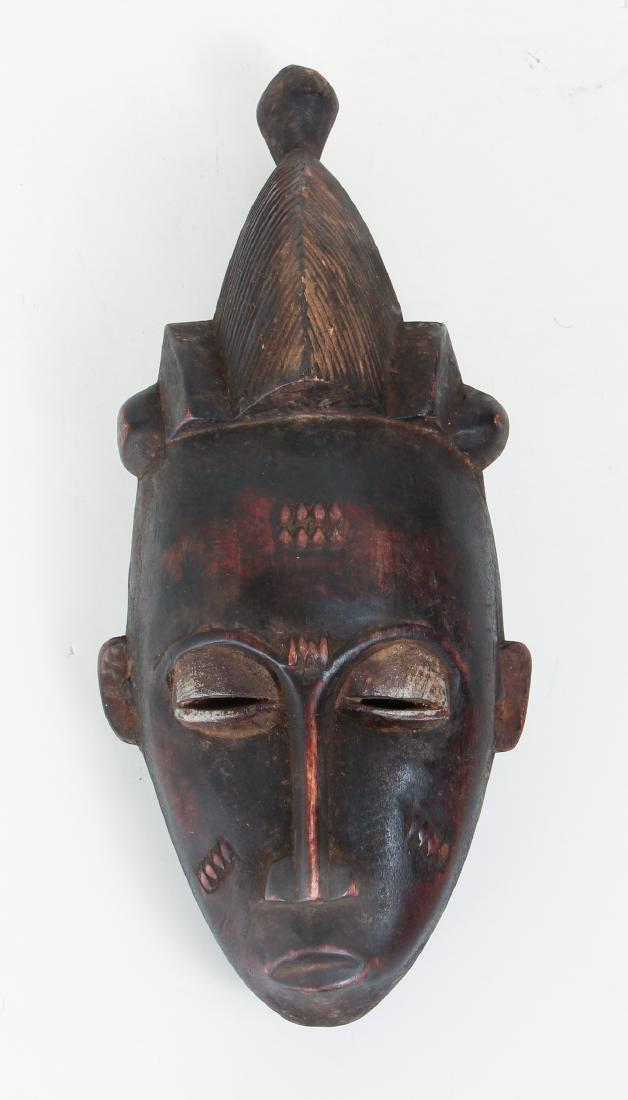 20th Century Baule Peoples Carved Wood Mask