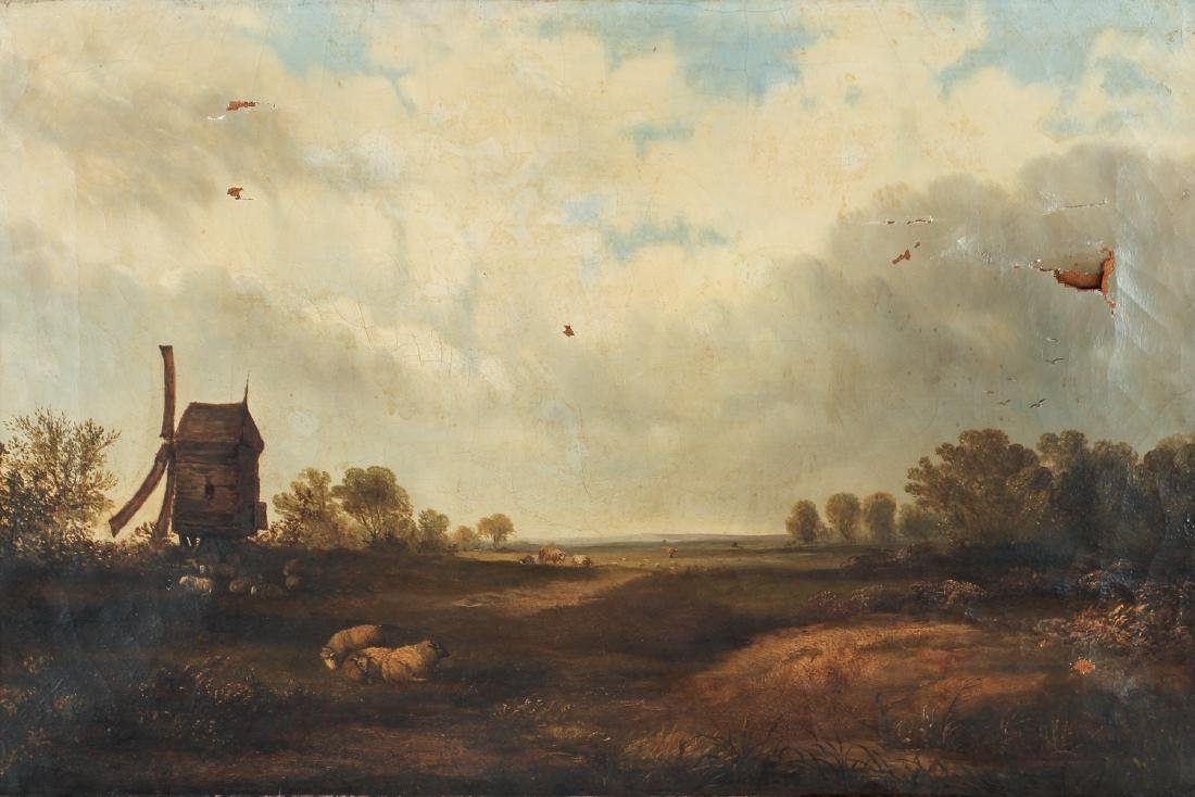 Unsigned Oil on Canvas Showing Sheep