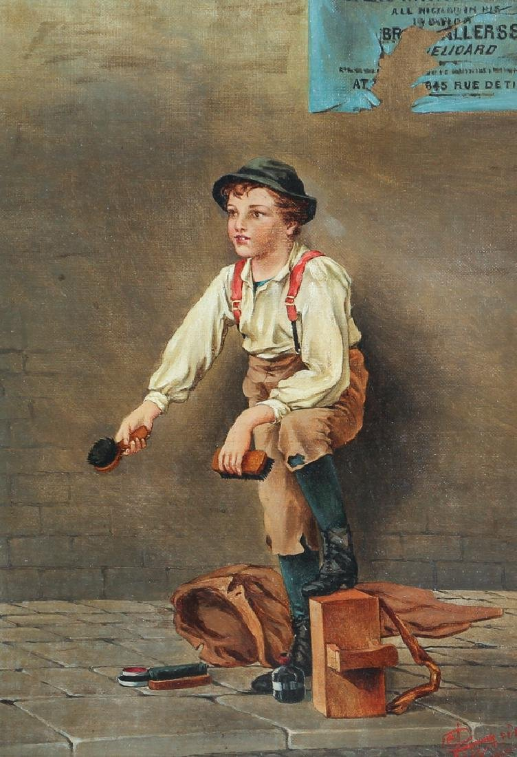 Victorian Painting of A Shoeshine Boy