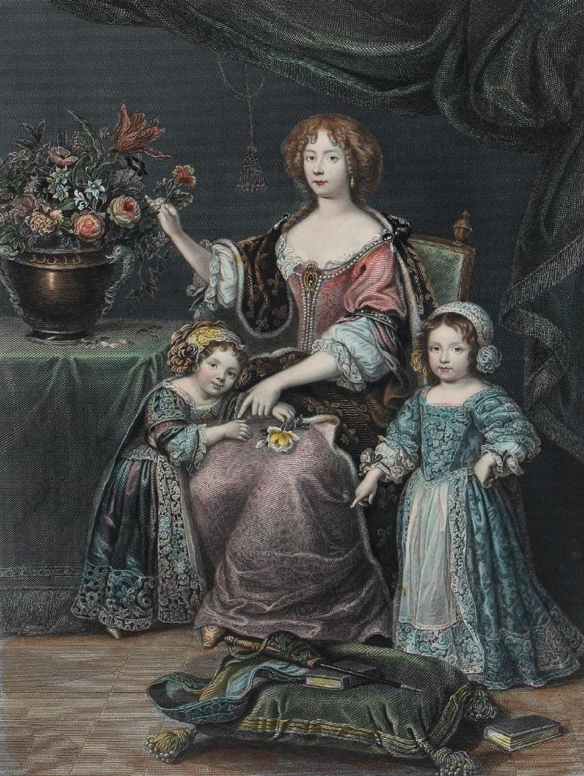 Henrietta of Orleans hand colored engraving after