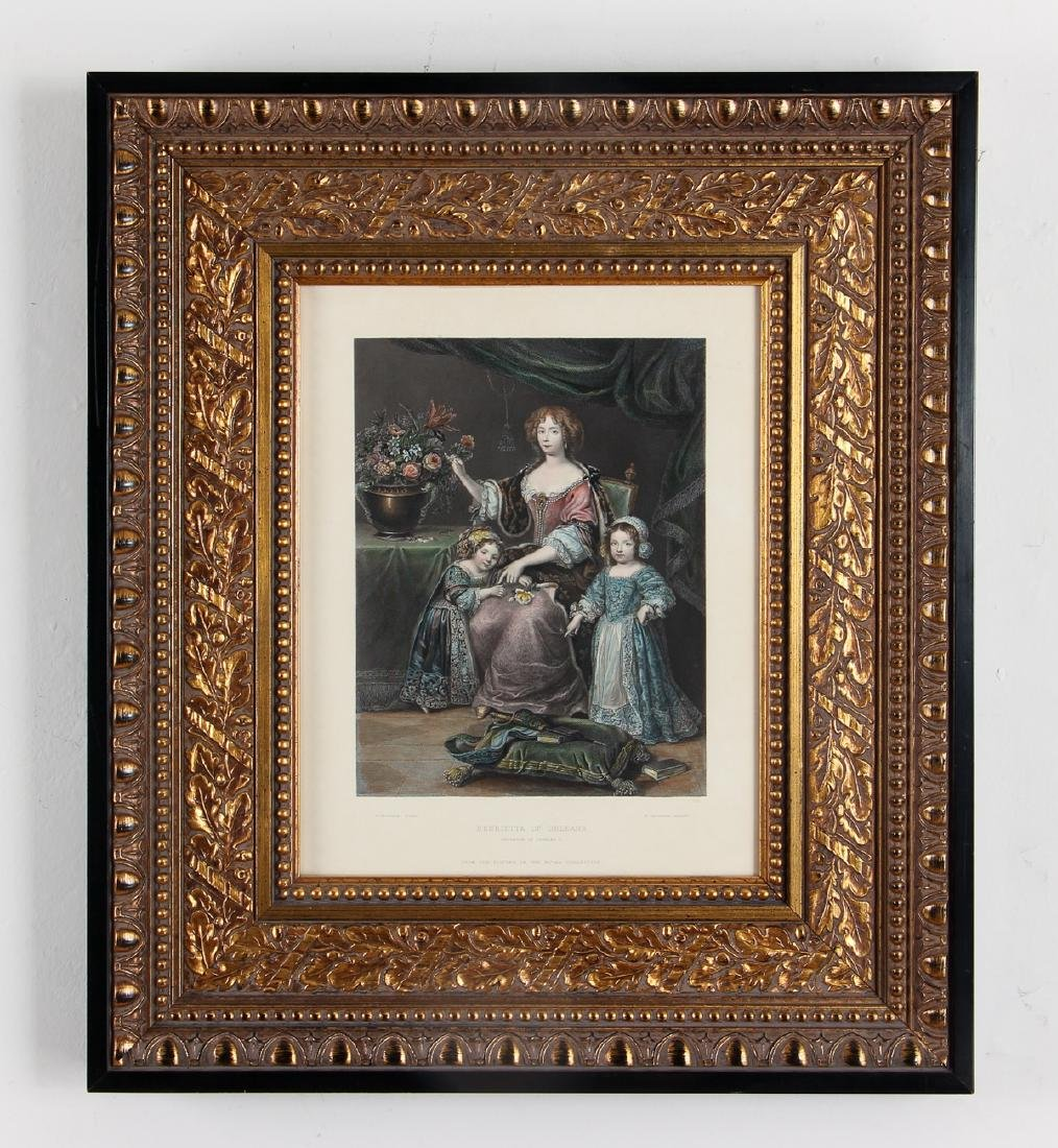 Henrietta of Orleans hand colored engraving after - 2