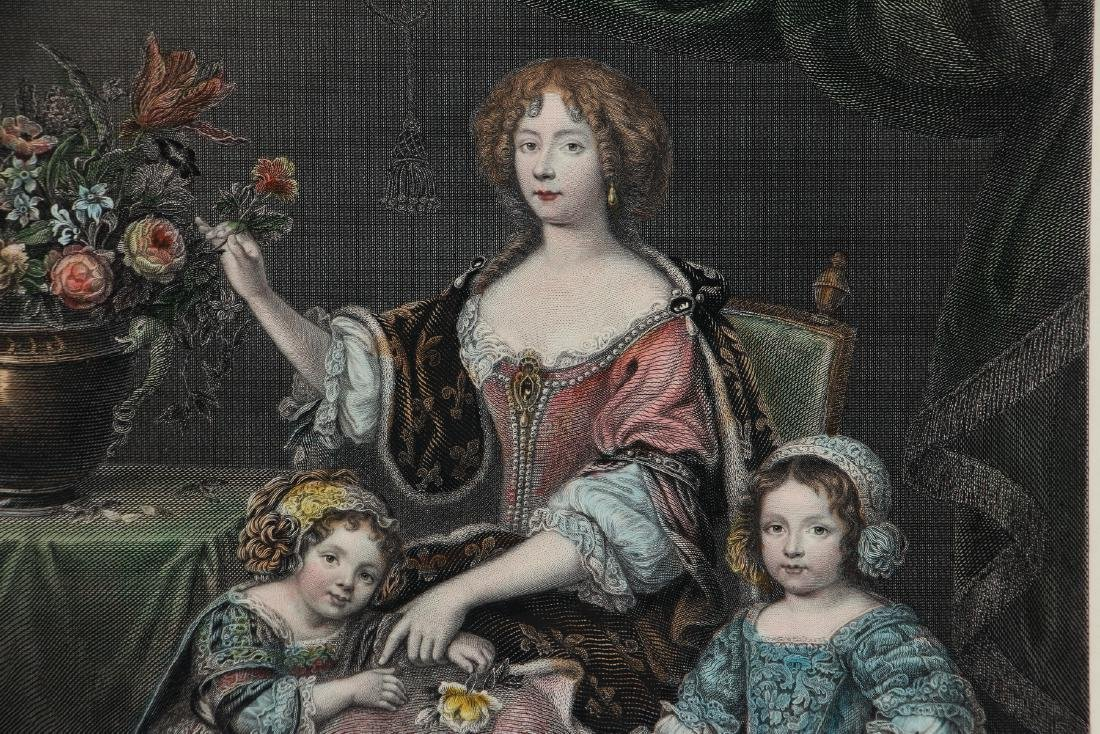Henrietta of Orleans hand colored engraving after - 6