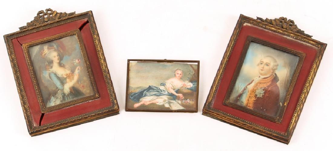 Three European Watercolor Portrait Miniatures