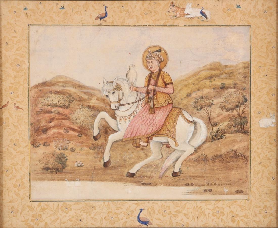 Persian Miniature painting of Mughal Falcon Hunter