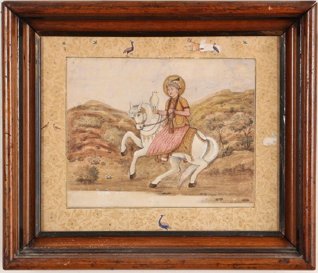 Persian Miniature painting of Mughal Falcon Hunter - 2