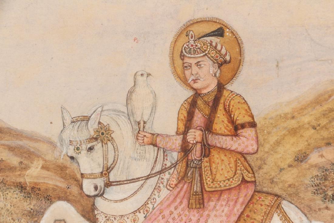 Persian Miniature painting of Mughal Falcon Hunter - 3