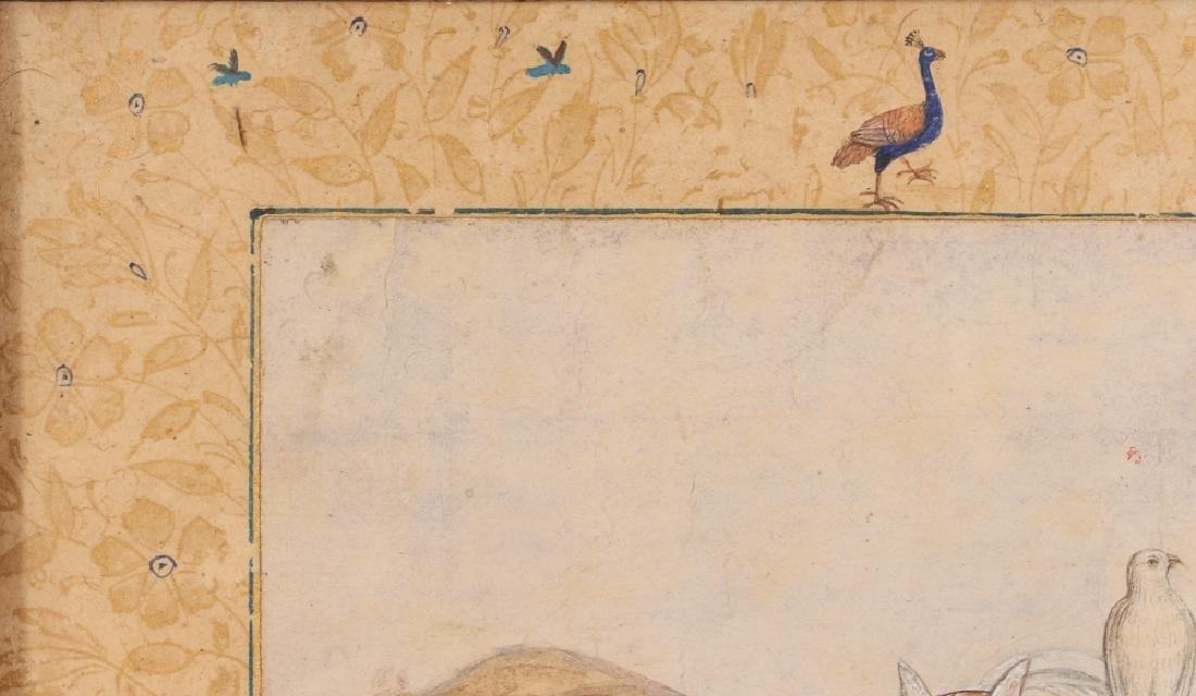 Persian Miniature painting of Mughal Falcon Hunter - 4