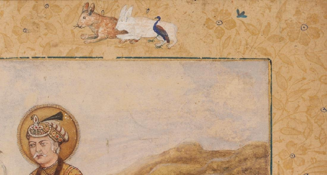 Persian Miniature painting of Mughal Falcon Hunter - 5