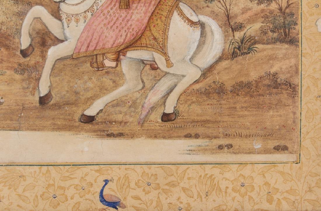Persian Miniature painting of Mughal Falcon Hunter - 6