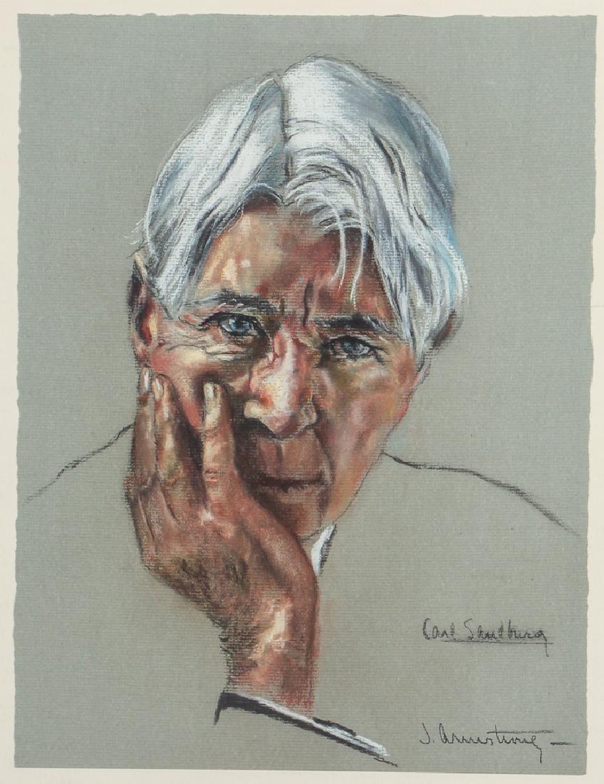 J. Armstrong pastel portrait Carl Sandberg