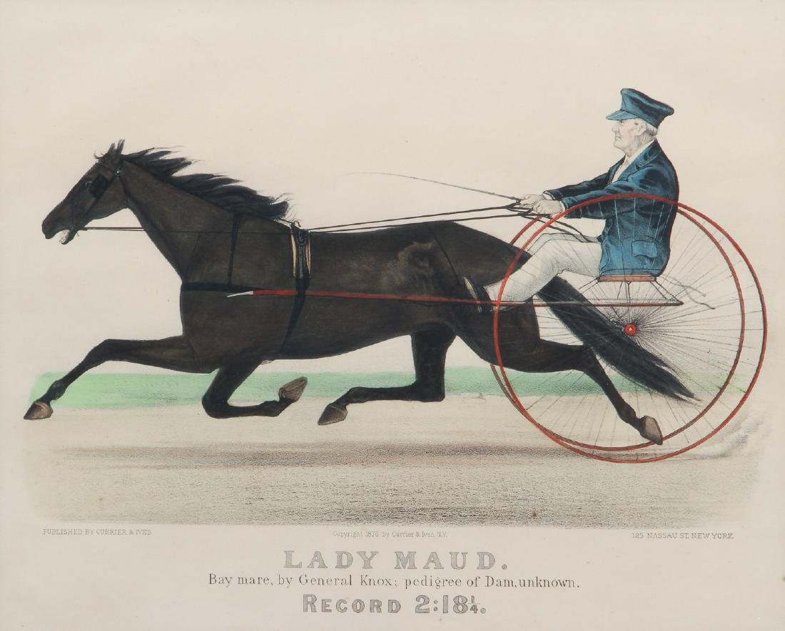 2 Currier and Ives, Lady Maud Trotter with Horses in a