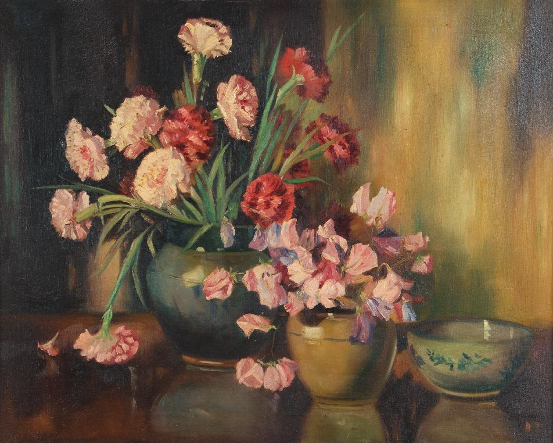 Floral Still Life Oil Painting circa 1940