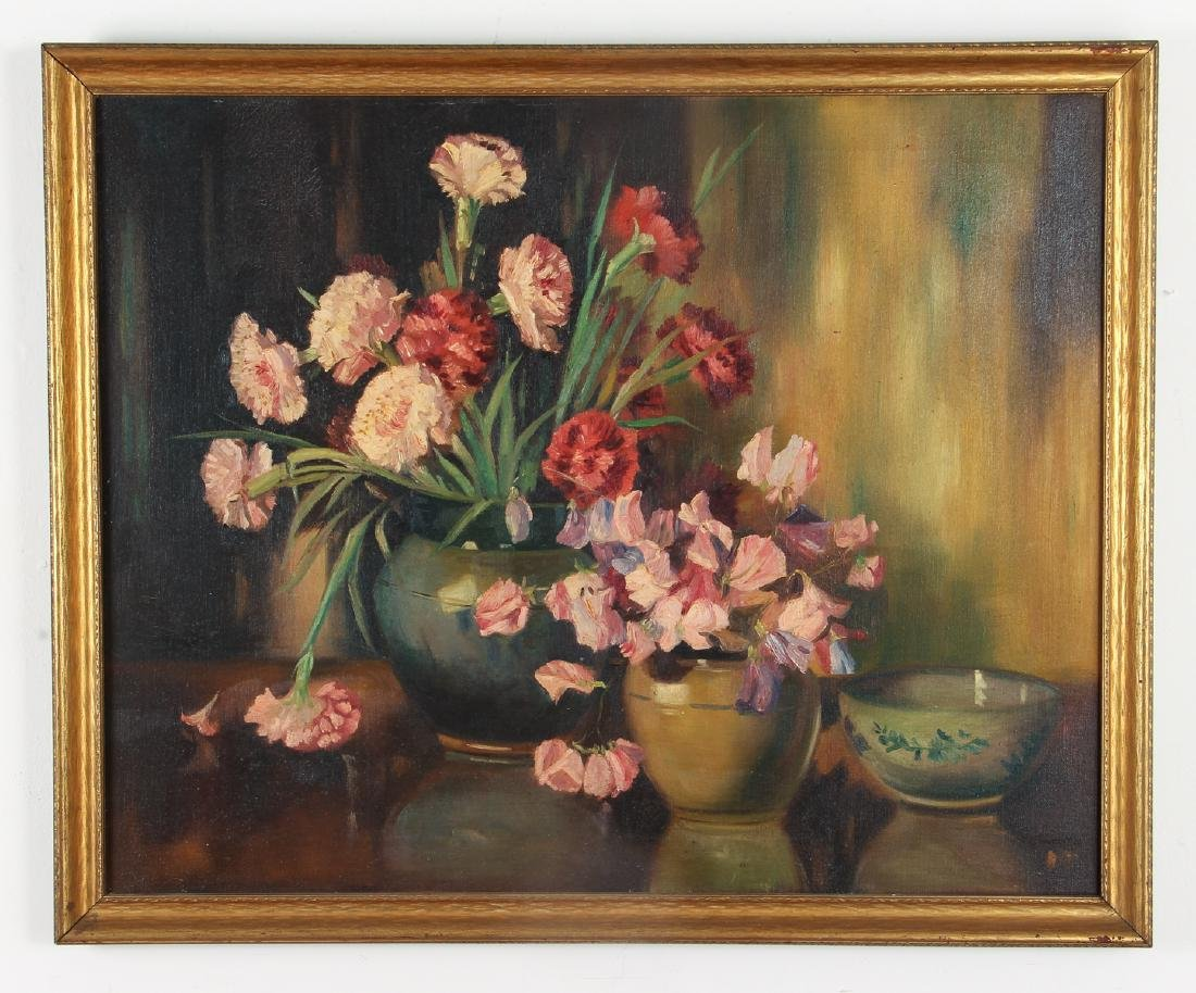 Floral Still Life Oil Painting circa 1940 - 2