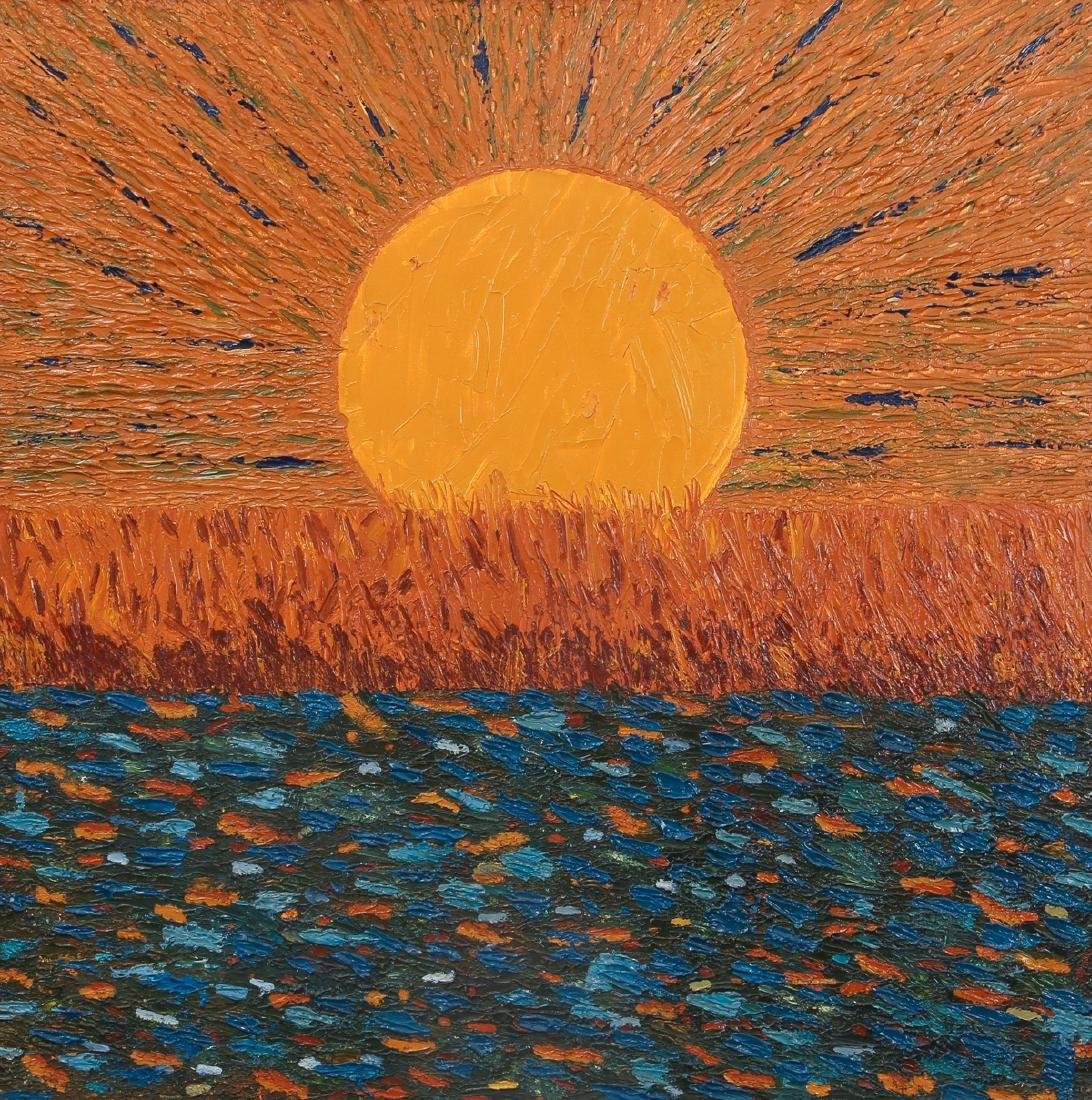 Post Impressionist Sunset Painting after Van Gogh