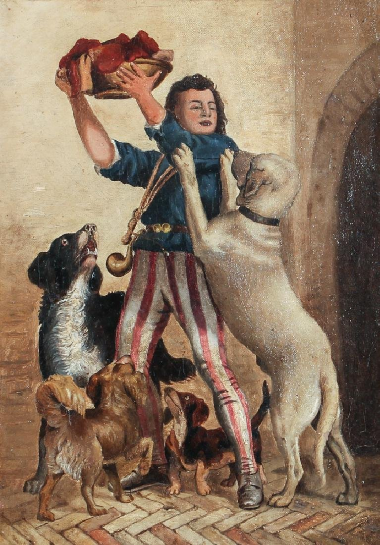Oil on Board Showing Colonial Man with Dogs