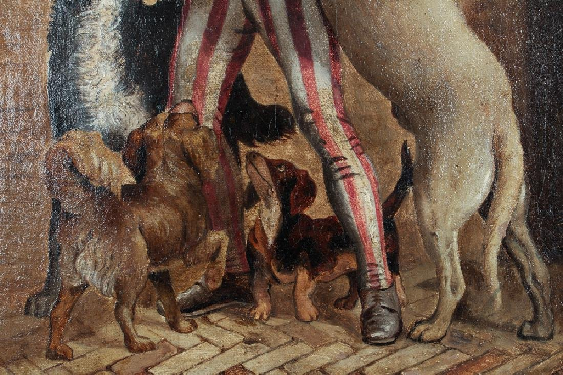 Oil on Board Showing Colonial Man with Dogs - 4