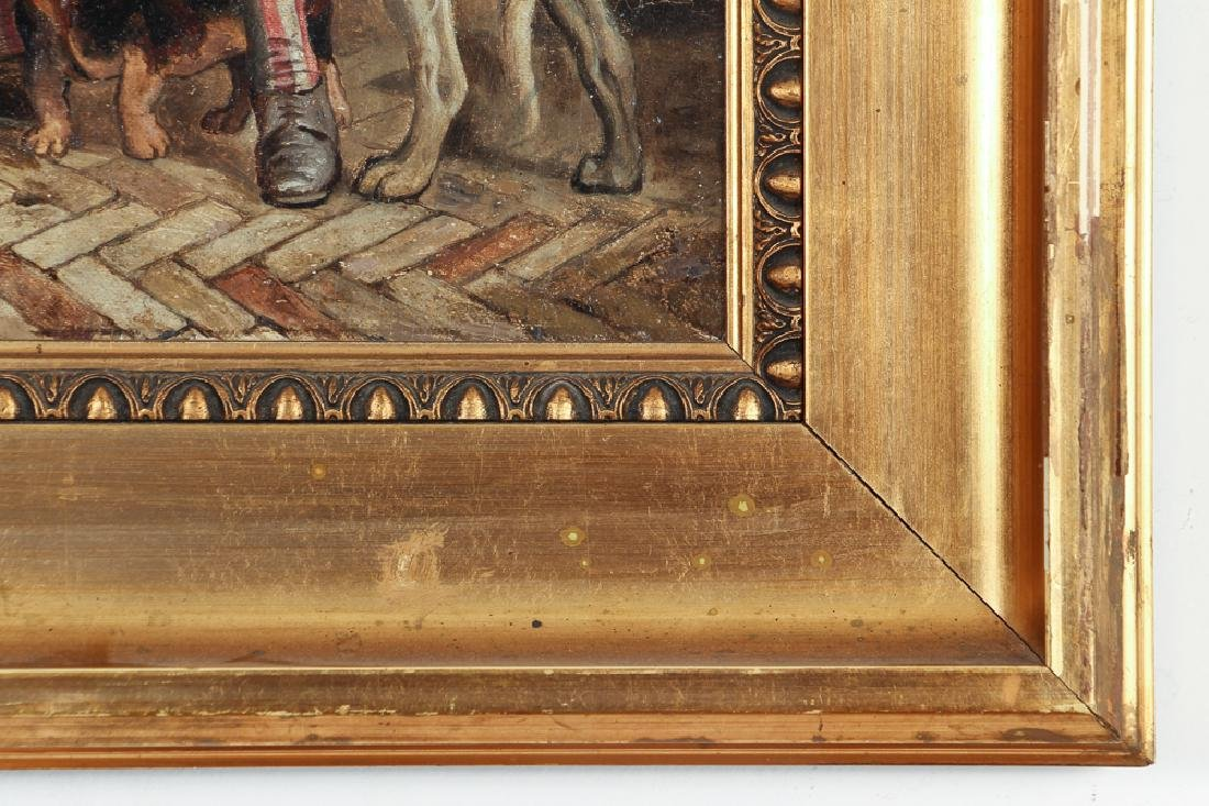 Oil on Board Showing Colonial Man with Dogs - 6